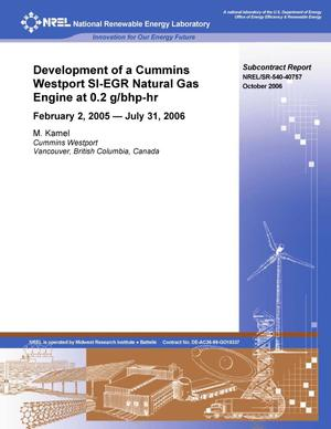 Primary view of object titled 'Development of a Cummins Westport SI-EGR Natural Gas Engine at 0.2 g/bhp-hr NOx: February 2, 2005 - July 31, 2006'.
