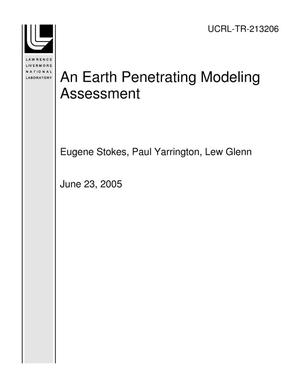 Primary view of object titled 'An Earth Penetrating Modeling Assessment'.