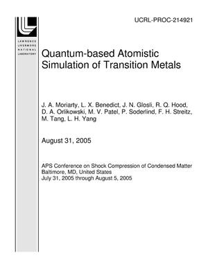 Primary view of object titled 'Quantum-based Atomistic Simulation of Transition Metals'.