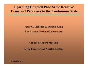 Primary view of object titled 'Upscaling coupled pore-scale reactive transport processes to the continuum scale'.