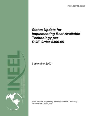 Primary view of object titled 'Status Update for Implementing Best Available Technology per DOE Order 5400.5 - September 2002'.