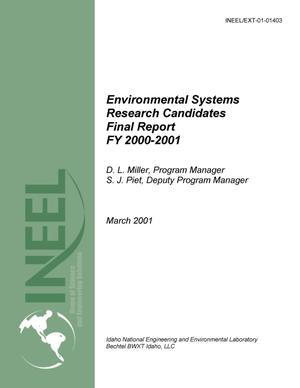 Primary view of object titled 'Environmental Systems Research Candidates FY-01 Annual Report'.