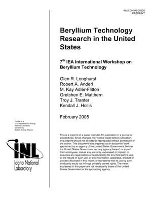 Primary view of object titled 'Beryllium Technology Research in the United States'.