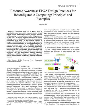 Primary view of object titled 'Resource Awareness FPGA Design Practices for Reconfigurable Computing: Principles and Examples'.