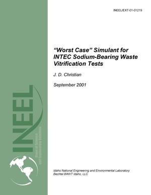 "Primary view of object titled 'Worst-Case"" Simulant for INTEC Soduim-Bearing Waste Vitrification Tests'."