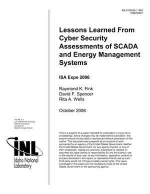 Primary view of object titled 'LESSONS LEARNED FROM CYBER SECURITY ASSESSMENTS OF SCADA AND ENERGY MANAGEMENT SYSTEMS'.