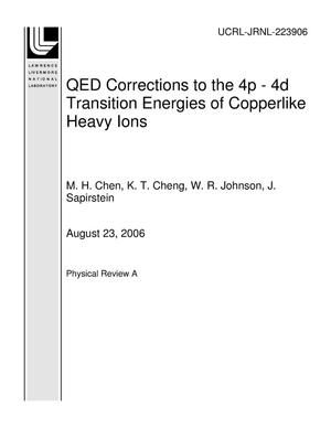 Primary view of object titled 'QED Corrections to the 4p - 4d Transition Energies of Copperlike Heavy Ions'.
