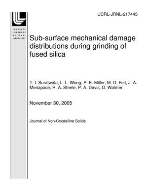 Primary view of object titled 'Sub-surface mechanical damage distributions during grinding of fused silica'.