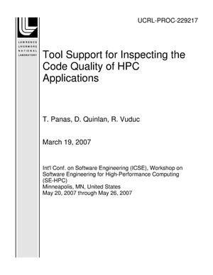 Primary view of object titled 'Tool Support for Inspecting the Code Quality of HPC Applications'.