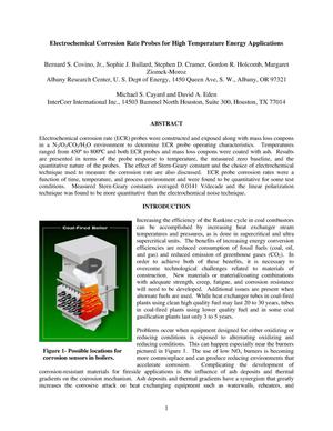Primary view of object titled 'Electrochemical corrosion rate probes for high temperature energy applications'.