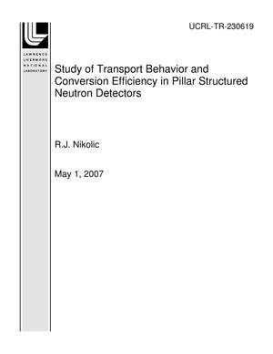 Primary view of object titled 'Study of Transport Behavior and Conversion Efficiency in Pillar Structured Neutron Detectors'.