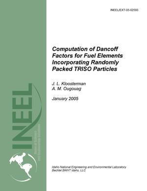 Primary view of object titled 'Computation of Dancoff Factors for Fuel Elements Incorporating Randomly Packed TRISO Particles'.