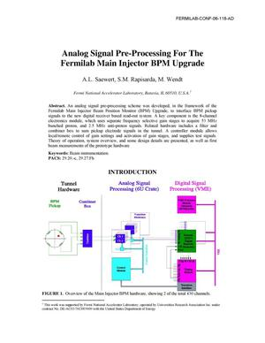 Primary view of object titled 'Analog signal pre-processing for the Fermilab Main Injector BPM upgrade'.