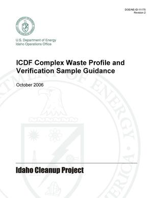 Primary view of object titled 'ICDF Complex Waste Profile and Verification Sample Guidance'.