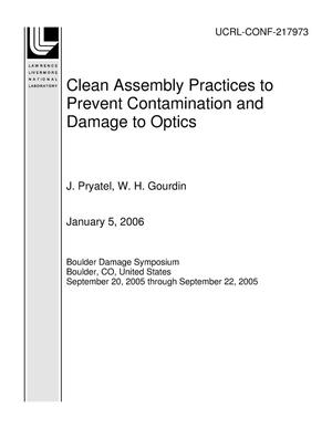 Primary view of object titled 'Clean Assembly Practices to Prevent Contamination and Damage to Optics'.