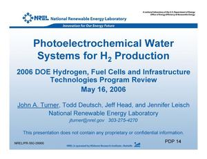Primary view of object titled 'Photoelectrochemical Water Systems for H2 Production (Presentation)'.