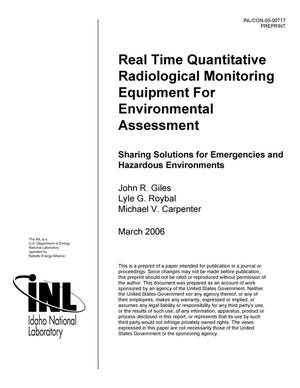 Primary view of object titled 'Real Time Quantitative Radiological Monitoring Equipment for Environmental Assessment'.