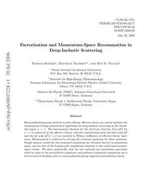 Primary view of object titled 'Factorization and Momentum-Space Resummation in Deep-Inelastic Scattering'.