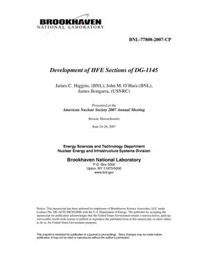 Primary view of object titled 'DEVELOPMENT OF HFE SECTIONS OF DG-1145.'.