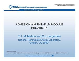 Primary view of object titled 'Adhesion and Thin-Film Module Reliability (Presentation)'.