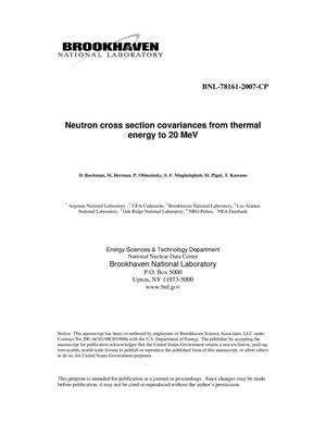 Primary view of object titled 'NEUTRON CROSS SECTION COVARIANCES FROM THERMAL ENERGY TO 20 MeV.'.