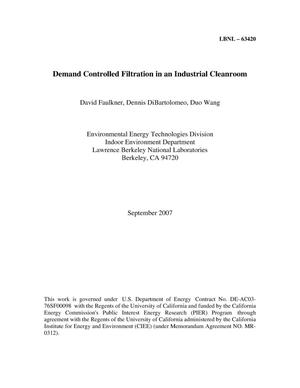 Primary view of object titled 'Demand Controlled Filtration in an Industrial Cleanroom'.