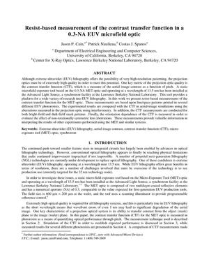 Primary view of object titled 'Resist-based measurement of contrast transfer function in a 0.3-NAmicrofield optic'.