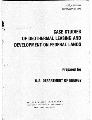 Primary view of object titled 'Case studies of geothermal leasing and development on federal lands'.