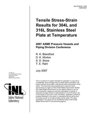 Primary view of object titled 'Tensile Stress-Strain Results for 304L and 316L Stainless-Steel Plate at Temperature'.