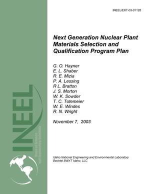 Primary view of object titled 'Next Generation Nuclear Plant Materials Selection and Qualification Program Plan'.