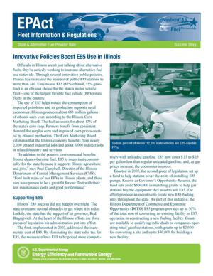 Primary view of object titled 'Innovative Policies Boost E85 Use in Illinois: EPAct Fleet Information and Regulations, State and Alternative Fuel Provider Rule Success Story (Fact Sheet)'.
