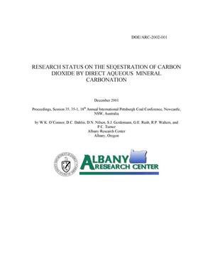 Primary view of object titled 'Research status on the sequestration of carbon dioxide by direct aqueous mineral carbonation'.