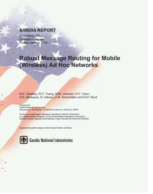 Primary view of object titled 'Robust message routing for mobile (wireless) ad hoc networks.'.