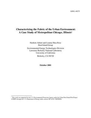 Primary view of object titled 'Characterizing the fabric of the urban environment: A case studyof Metropolitan Chicago, Illinois and Executive Summary'.