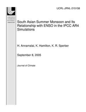 Primary view of object titled 'South Asian Summer Monsoon and Its Relationship with ENSO in the IPCC AR4 Simulations'.