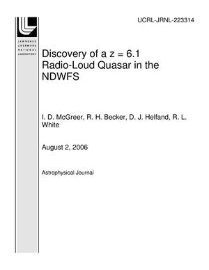 Primary view of object titled 'Discovery of a z = 6.1 Radio-Loud Quasar in the NDWFS'.