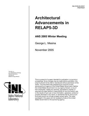 Primary view of object titled 'Architectural Advancements in RELAP5-3D'.
