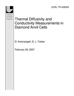 Primary view of object titled 'Thermal Diffusivity and Conductivity Measurements in Diamond Anvil Cells'.