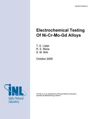 Primary view of object titled 'Electrochemical Testing of Ni-Cr-Mo-Gd Alloys'.