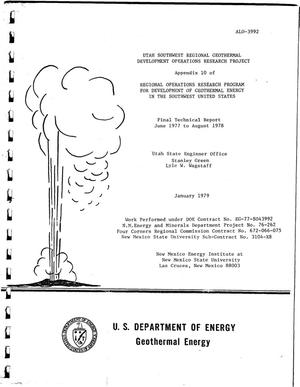 Primary view of object titled 'Utah Southwest Regional Geothermal Development Operations Research Project. Appendix 10 of regional operations research program for development of geothermal energy in the Southeast United States. Final technical report, June 1977--August 1978'.