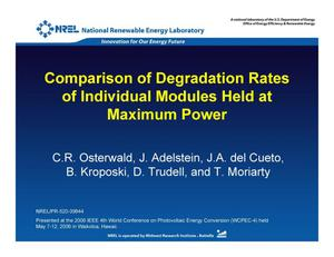 Primary view of object titled 'Comparison of Degradation Rates of Individual Modules Held at Maximum Power (Presentation)'.