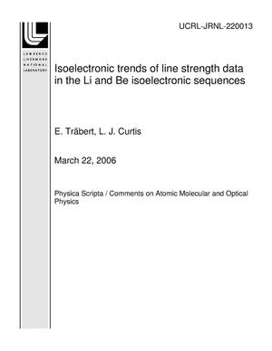 Primary view of object titled 'Isoelectronic trends of line strength data in the Li and Be isoelectronic sequences'.