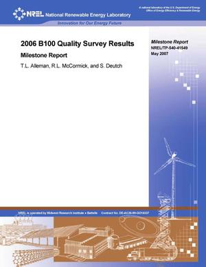 Primary view of object titled '2006 B100 Quality Survey Results: Milestone Report'.