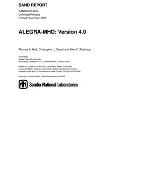 Primary view of object titled 'ALEGRA-MHD : Version 4.0.'.