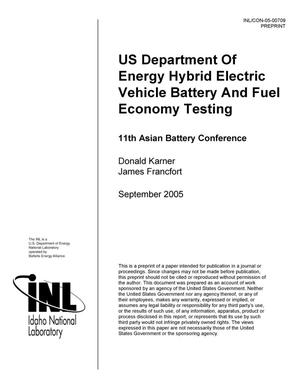 Primary view of object titled 'US Department of Energy Hybrid Vehicle Battery and Fuel Economy Testing'.