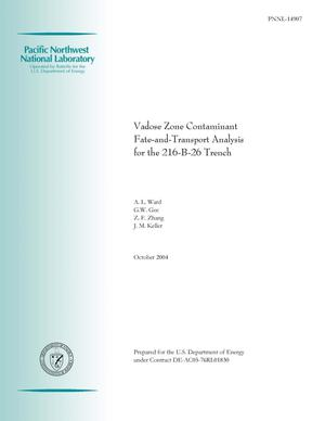Primary view of object titled 'Vadose Zone Contaminant Fate and Transport Analysis for the 216-B-26 Trench'.