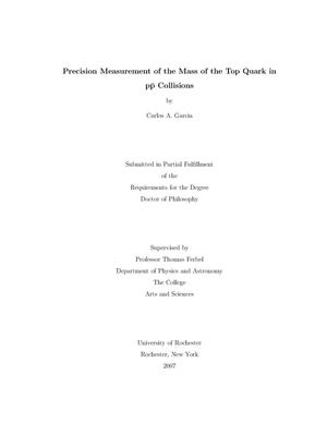 Primary view of object titled 'Precision Measurement of the Mass of the Top Quark in p anti-p Collisions'.