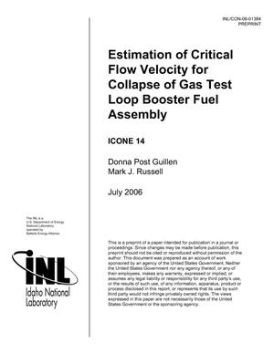 Primary view of object titled 'Estimation of Critical Flow Velocity for Collapse of Gas Test Loop Booster Fuel Assembly'.