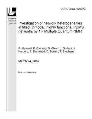 Primary view of object titled 'Investigation of network heterogeneities in filled, trimodal, highly functional PDMS networks by 1H Multiple Quantum NMR'.