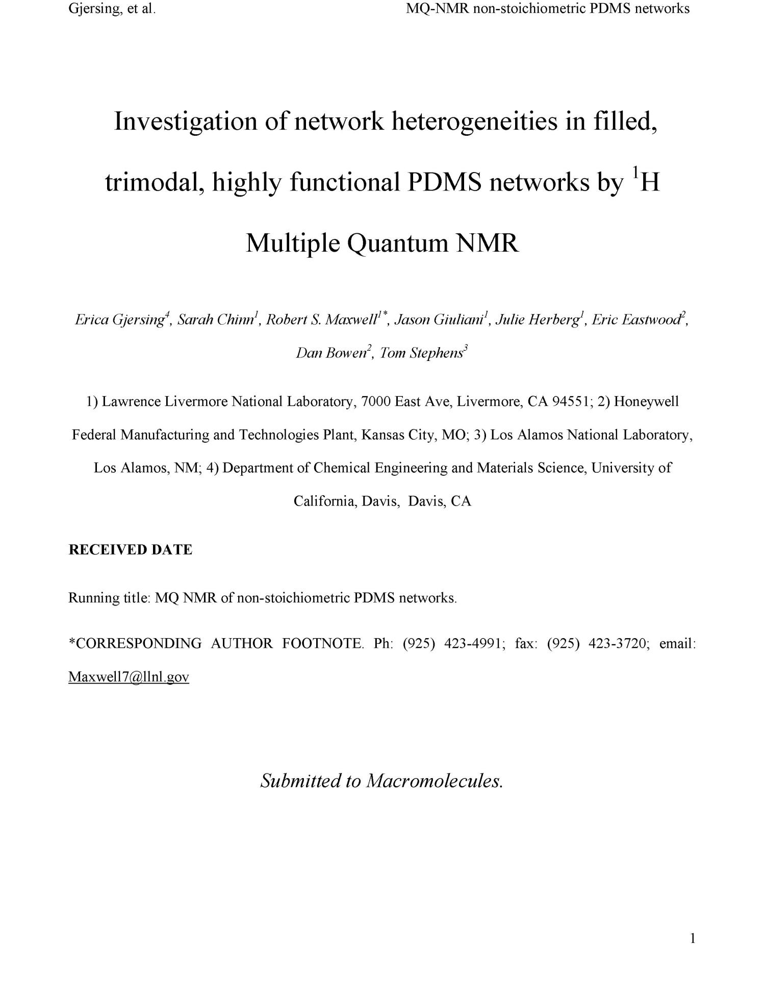 Investigation of network heterogeneities in filled, trimodal, highly functional PDMS networks by 1H Multiple Quantum NMR                                                                                                      [Sequence #]: 3 of 39